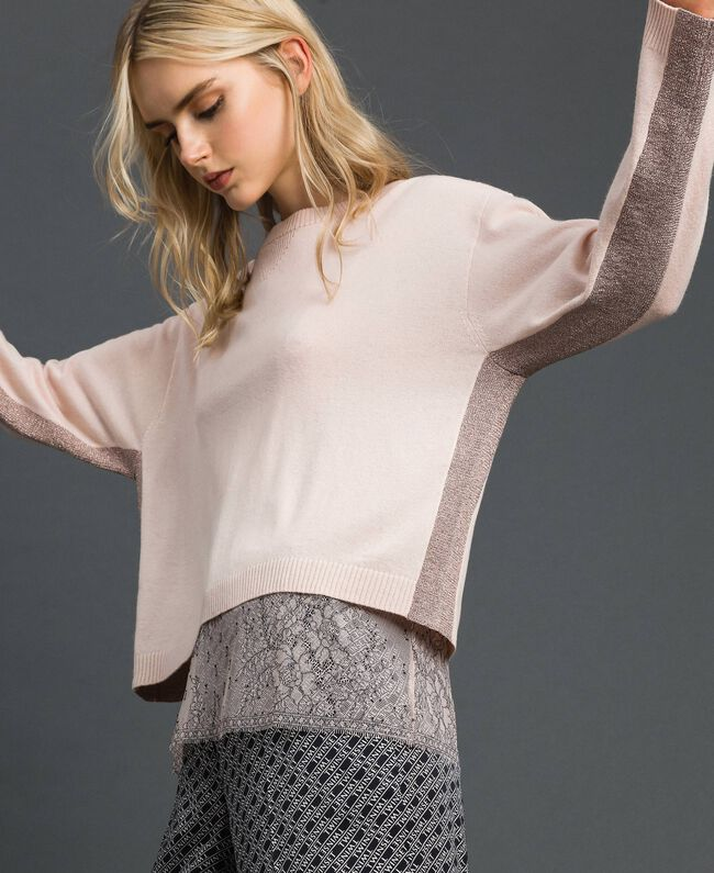 Pull boxy avec top nuisette Rose Bouton Femme 192MP3101-03