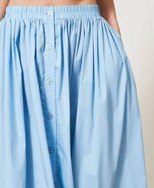 Jupe mi-longue en popeline Bleu «Ciel» Femme 211LM2EFF-05