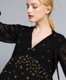 Embroidered georgette blouse Black Woman TA826B-04