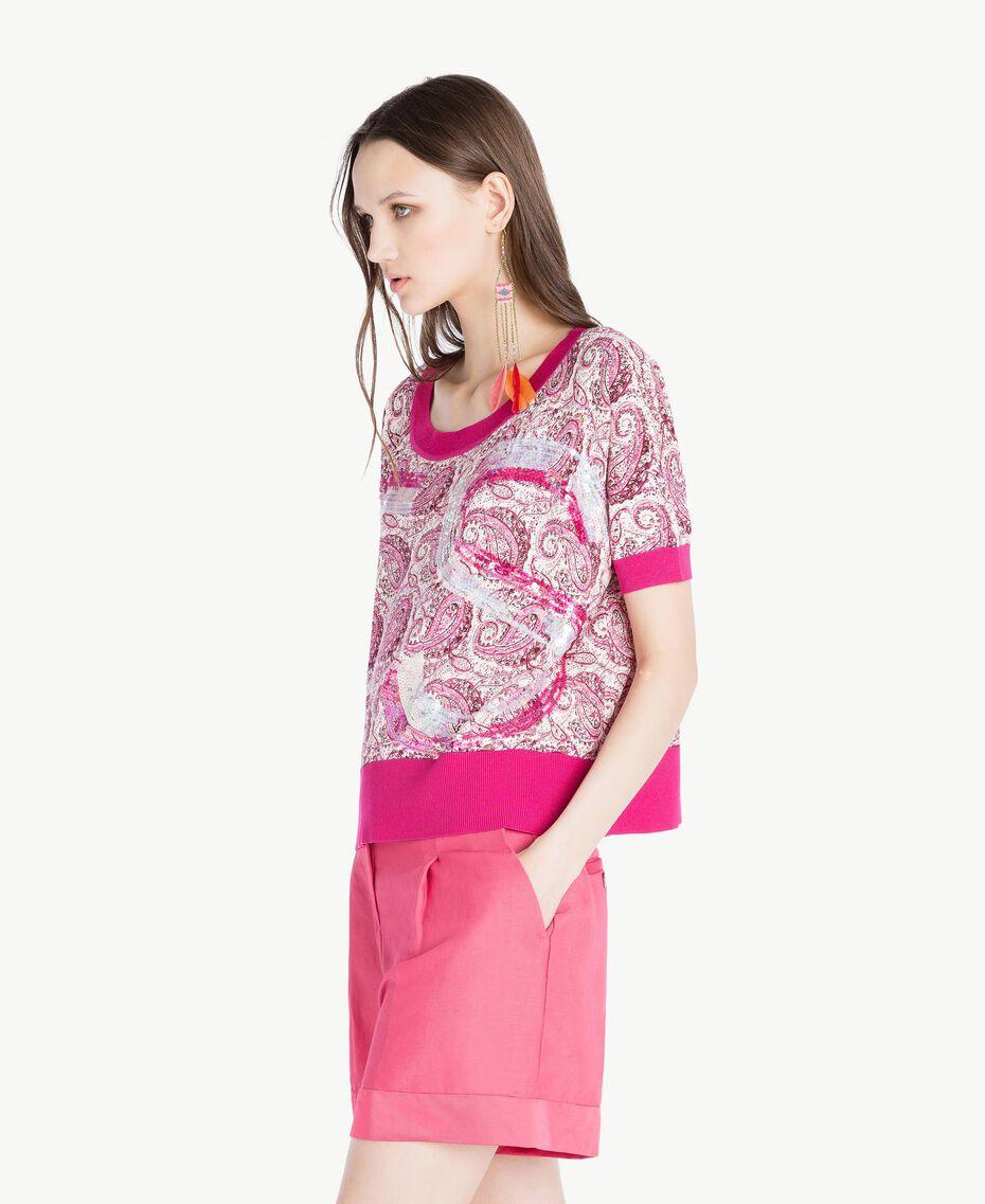 Sequin maxi jumper Pink Macro Paisley Print Woman TS83DC-02