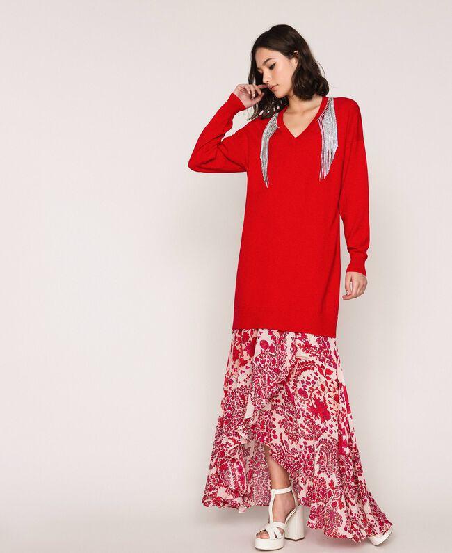 """Платье с бахромой из стразов Красный """"Лава"""" женщина 201TP3080-01"""