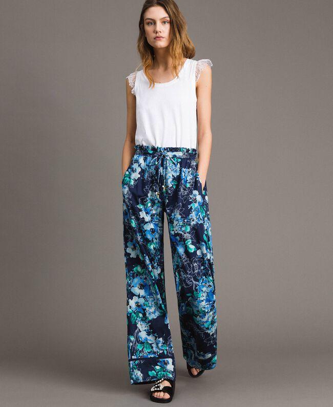 Pantalon palazzo avec imprimé floral Imprimé Fleur Multicolore Bleu Nuit Total Femme 191MT2293-01