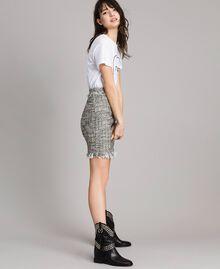 "Fringed tweed mini skirt Two-tone ""Snow"" White Bouclé / Black Woman 191TP2527-02"
