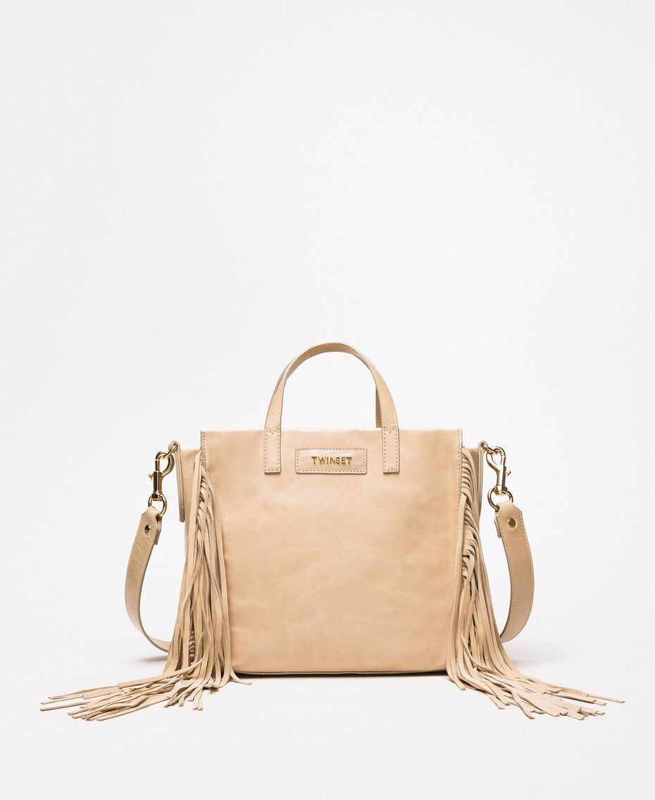Medium leather shopper with fringes Nougat Beige Woman 201TO8141-02