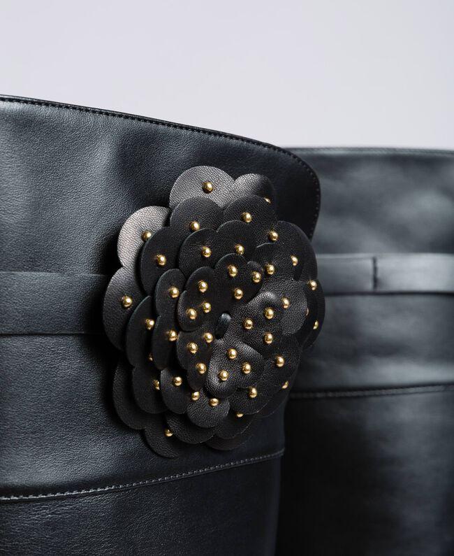 Bottes cuissardes en cuir avec fleur Noir Femme CA8PNC-04