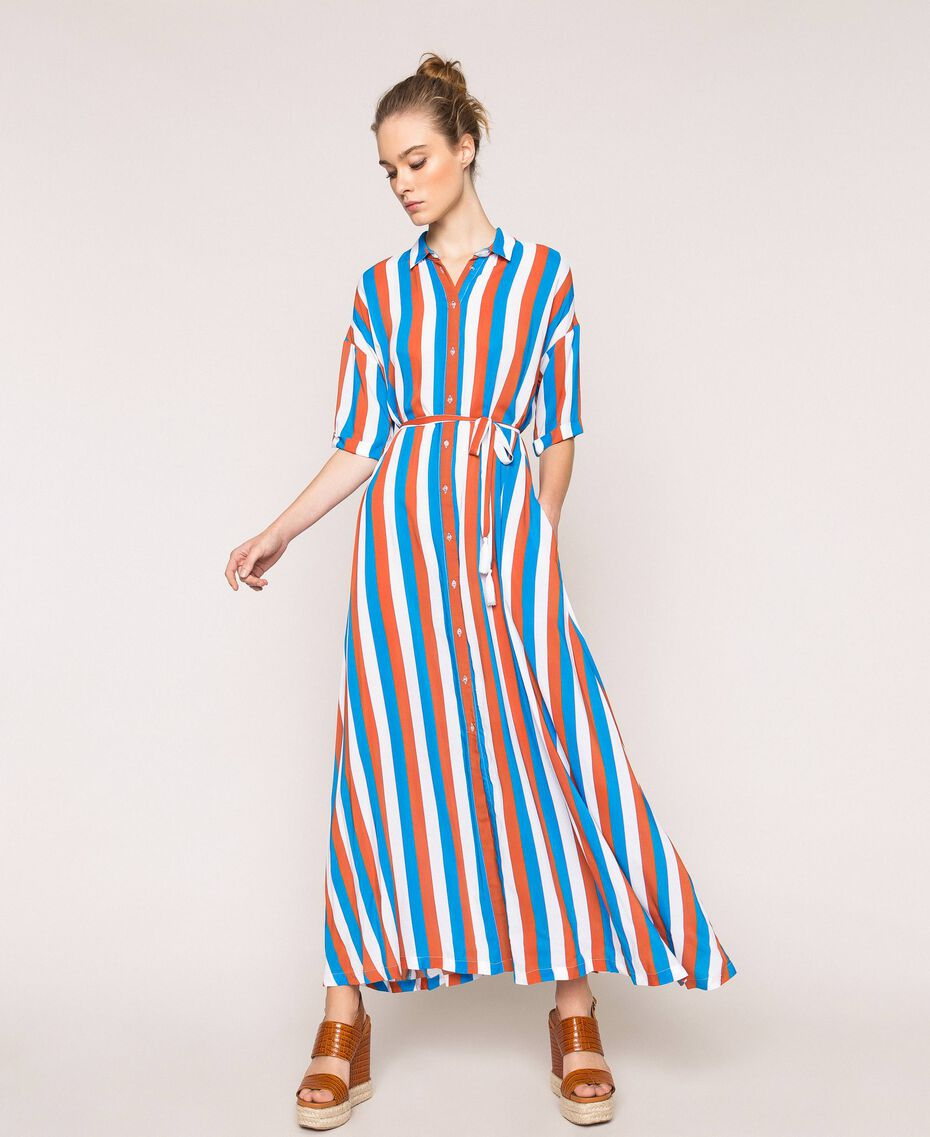 "Long striped shirt dress Multicolour ""Bay"" Blue / ""Choco"" Brown / Optical White Woman 201LM2FBB-01"