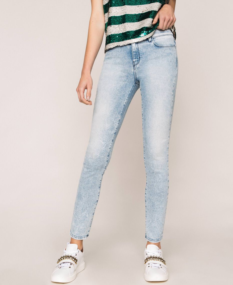 Push up jeans with five pockets Denim Blue Woman 201MP227K-02