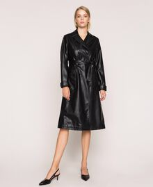 Faux leather trench coat with belt Black Woman 201MP2031-0T