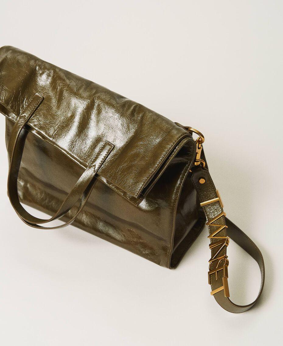 Borsa shopper Twinset Bag in pelle ripiegabile Dark Olive Green Donna 202TB7099-02