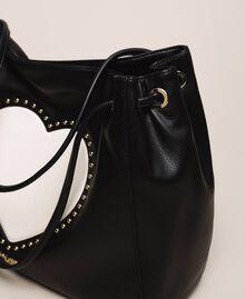 "Hobo bag with studs and heart Black / ""Vanilla"" White Woman 201MA7093-04"