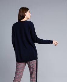 Langer Pullover aus Wolle und Kaschmir Nachtblau Frau TA83AE-03