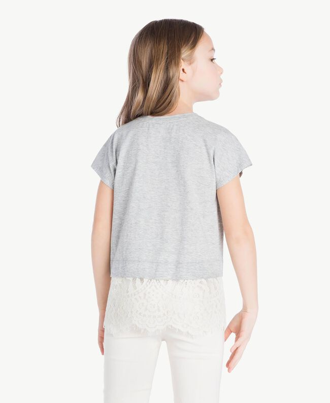Lace T-shirt Two-tone Mid Melange Grey / Chantilly Child GS82XG-04