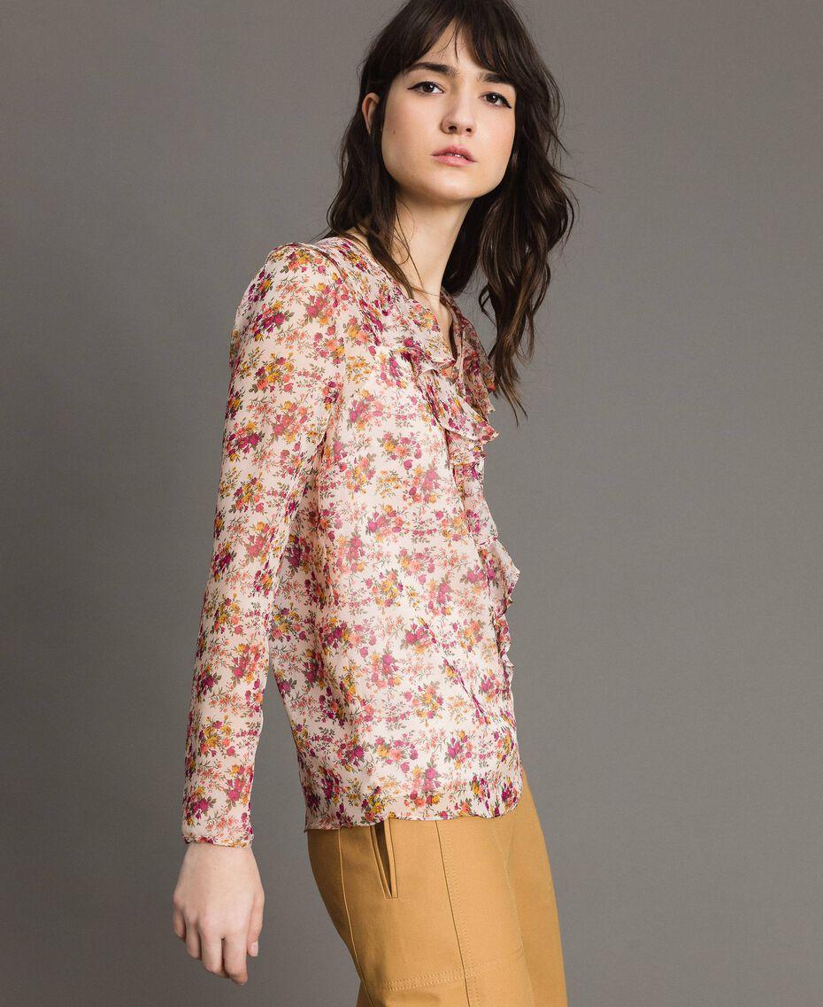 """Blouse en georgette à imprimé floral Imprimé Bouquet Rose """"Bouton De Rose"""" Femme 191TP2571-02"""
