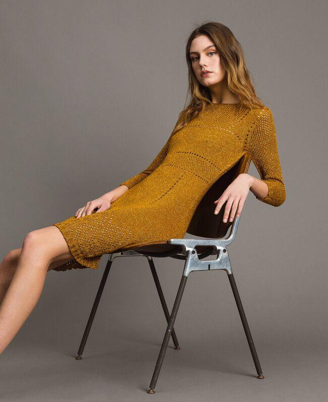 """Kleid aus Lurex mit Durchbruchmuster """"Golden Oak"""" Gold Lurex Frau 191TT3111-04"""