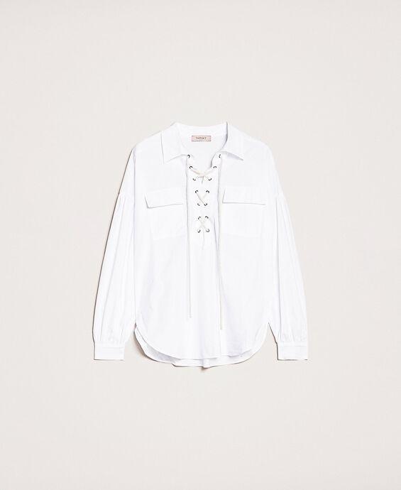 Поплиновая рубашка с декоративной шнуровкой