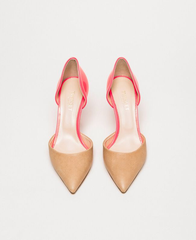"""Patent leather and leather court shoes Two-tone """"Desert"""" Beige / Fluo Fuchsia Woman 201TCP012-04"""