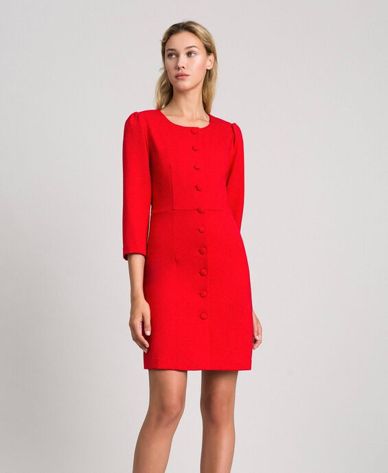 Sheath dress with covered buttons