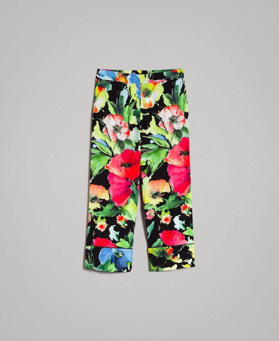 Marocain-Hose mit Blumenmuster Motiv Schwarzer Garten Frau 191TT2471-0S