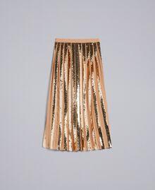 Jupe mi-longue en crêpe georgette avec paillettes Chameau Femme PA82J3-0S