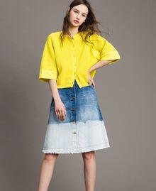 Cardigan-Pullover mit Details aus Popeline Zitronengelb Frau 191ST3060-04