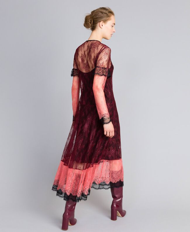 """Valencienne lace multi-colour long dress Burgundy Multicolour / """"Royal Pink"""" Woman PA82FS-03"""