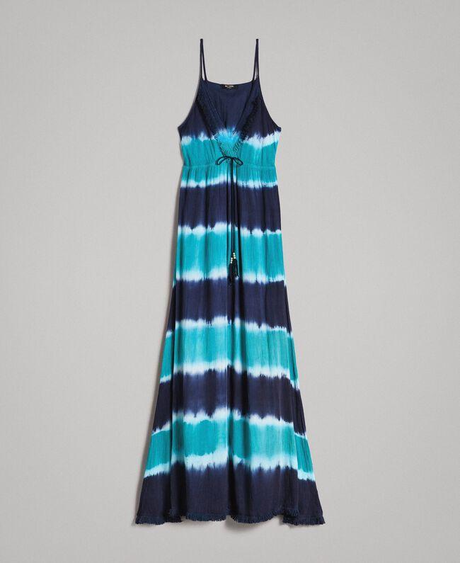"""Tie-Dye-Maxikleid mit Streifen Multicolour Blunight / Cremeweiß / """"Green Bay"""" Grün Frau 191MT2322-0S"""