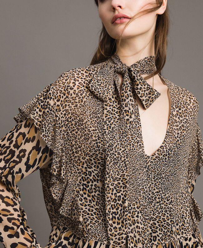 Animal print georgette blouse Mixed Animal Print Woman 191TP2721-04