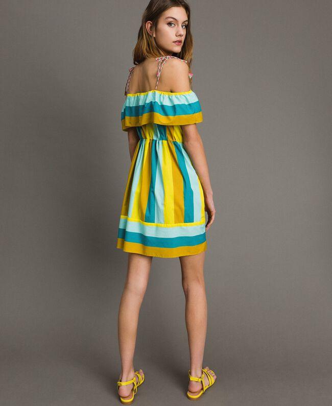 Mehrfarbig gestreiftes Popeline-Kleid Multicolour Motiv Keramikblau Frau 191TT2412-03