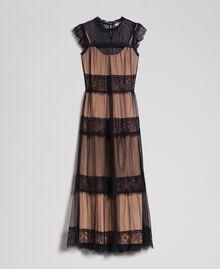 Robe longue avec patchs en tulle, dentelle et plumetis Bicolore Noir / Nude Femme 192TP2332-0S