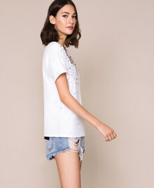 T-shirt with embroidered tulle White Woman 201TP2061-02