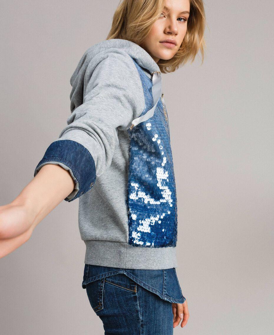 """Sweat-shirt avec sequins dégradés Bicolore Mélange Gris Clair / Bleu """"Bleuet"""" Femme 191MP2072-02"""
