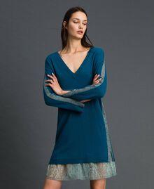 Robe avec bandes en lurex et fond de robe Bleu «Lake» Femme 192MP3100-01