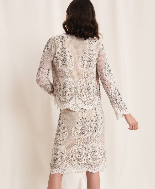 Lace jacket with embroidery Ivory Woman 201TP2460-03