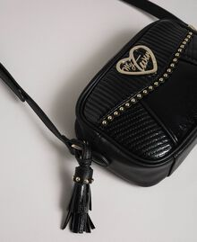 Faux leather shoulder bag with studs and tassel Black Woman 192MO8012-03
