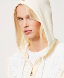 """Plush fabric cardigan with logo inserts Two-tone """"Snow"""" White / """"Off White"""" Woman 211TT3240-04"""