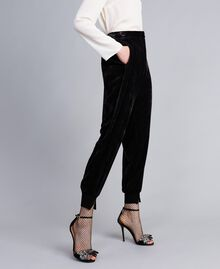 Velvet jogging trousers Black Woman PA823G-02