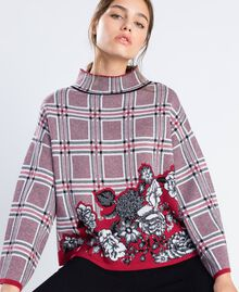 "Maxi floral print and check jacquard jumper ""Reddish"" Red Tartan Print Woman LA8NBB-0S"