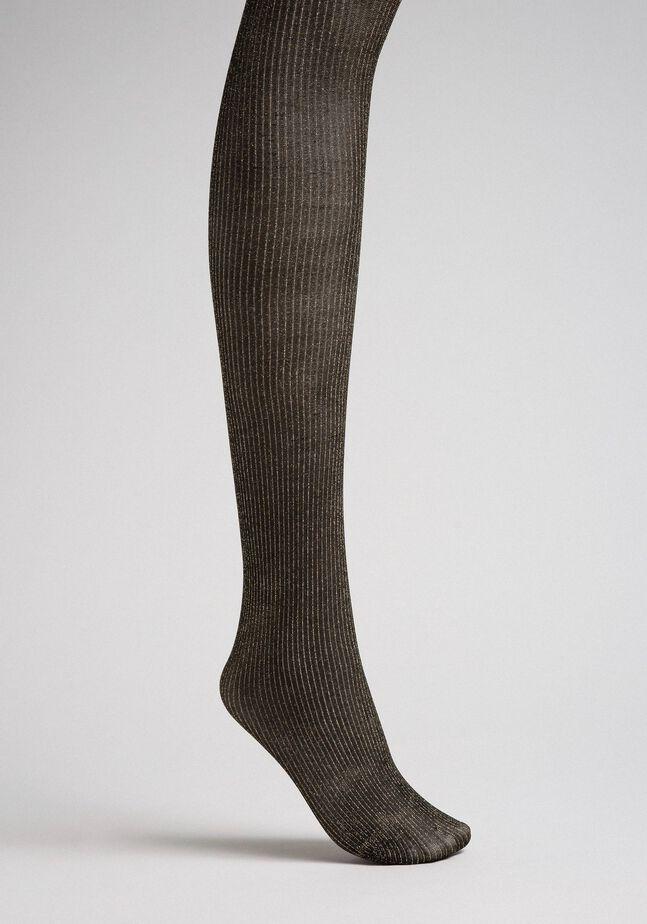 Pin stripe tights with lurex