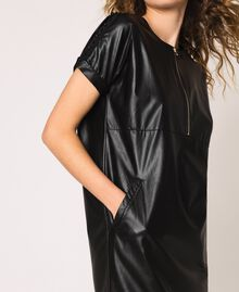 Faux leather dress with embroidery Black Woman 201ST2111-05