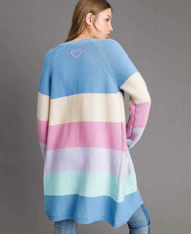 Maxi cardigan rayé Multicolore Couleur Pastel Femme 191MP3010-04