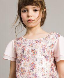 T-Shirt aus Jerseystoff mit aufgedruckten Pailletten Blütenrosa Kind 191GJ2660-0S