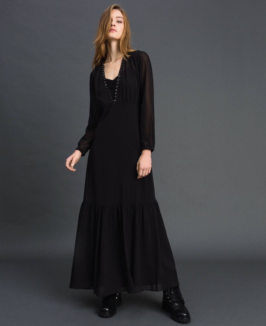 Long georgette dress with beads and studs Black Woman 192MP2481-01