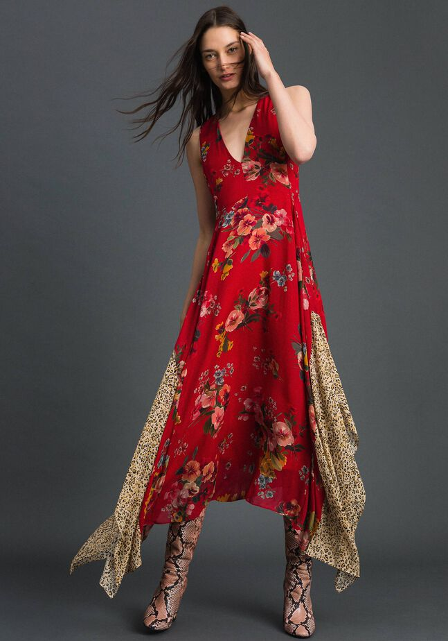 Georgette dress with floral and animal print