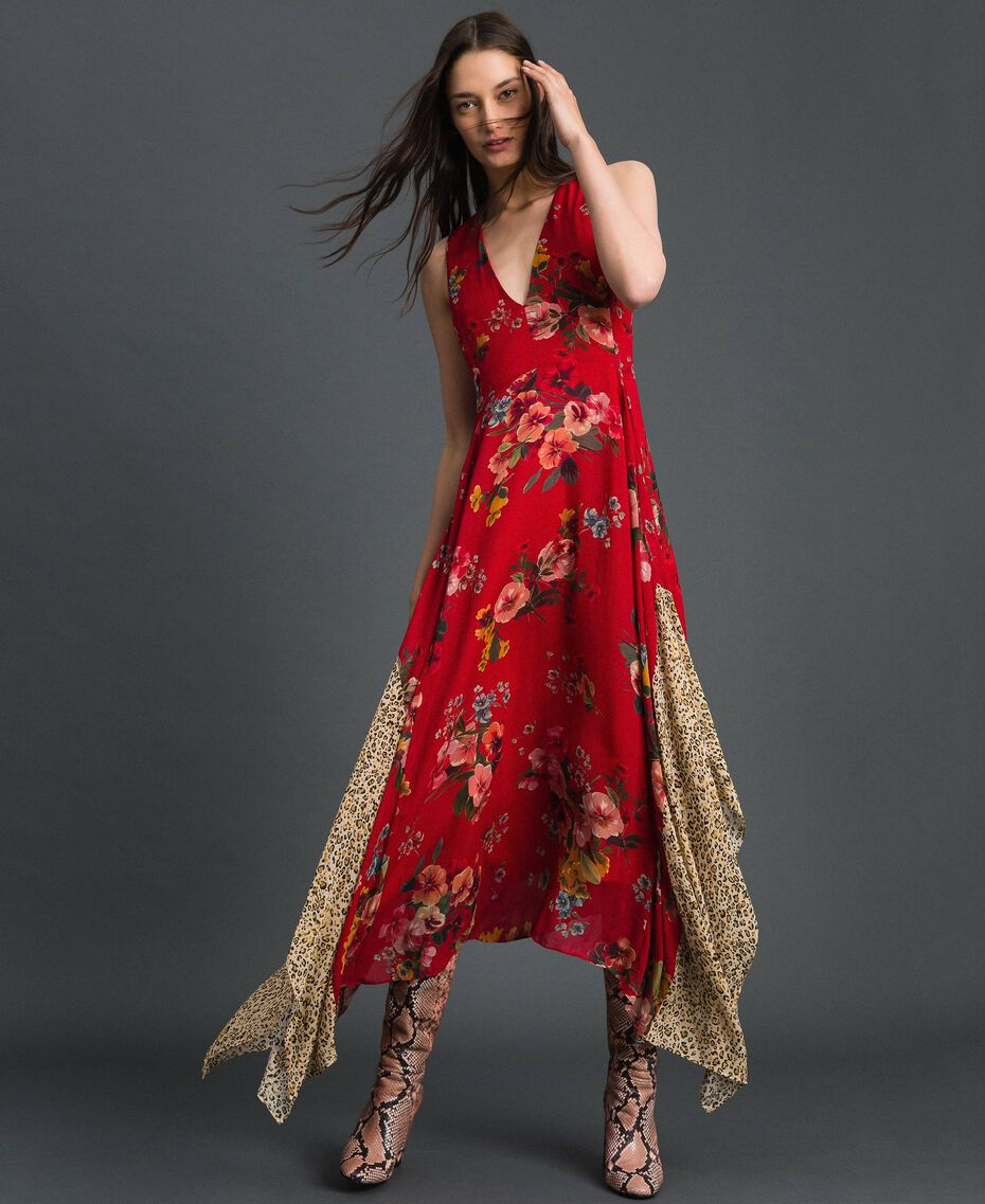 Georgette dress with floral and animal print Pomegranate Meadow Print Woman 192TP2750-01