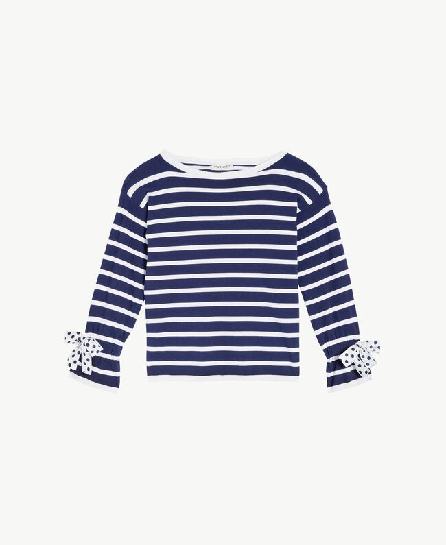 "Striped maxi pullover Ocean Blue / ""Papyrus"" White Stripes / Flower Print Child GS83BA-01"