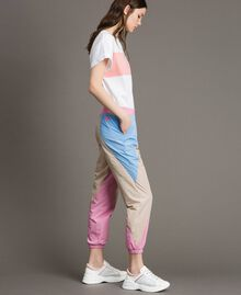 Colour block nylon jogging trousers Beige Porcelain Woman 191MP2093-02