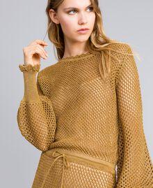Maxikleid aus Lurex mit Netzmuster Gold Gelb Frau TA83EA-04