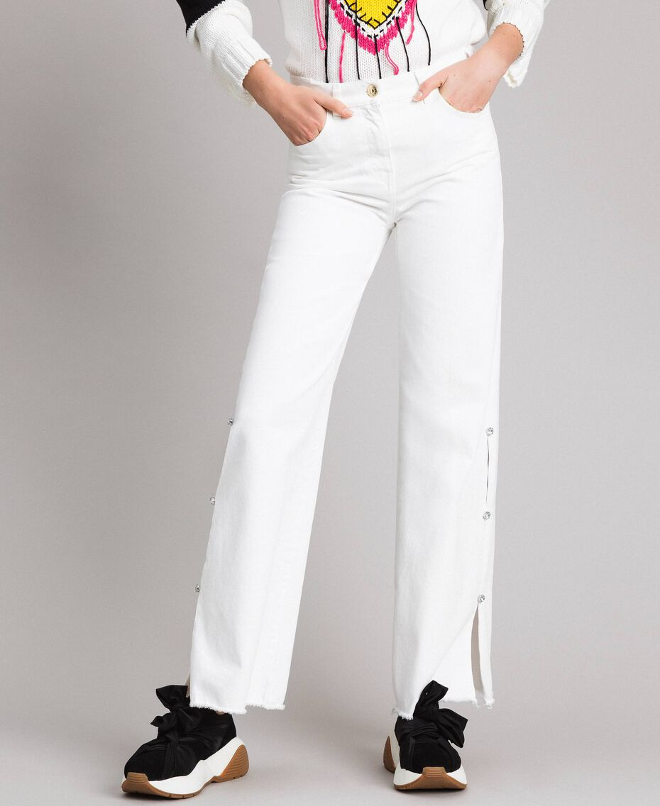 Wide leg jeans with slits White Cream Woman 191MP2500-02
