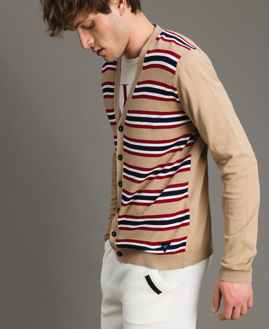 "Crêpe cotton striped cardigan Multicolour Porcelain Beige / ""Dark Raspberry"" Red Man 191UT3032-02"