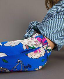 Pantalon palazzo en satin à motif floral Imprimé Anémone Sylvie Bleuet Femme 191TP2472-05